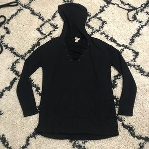 Mossimo Black Lace Up Pullover-XS